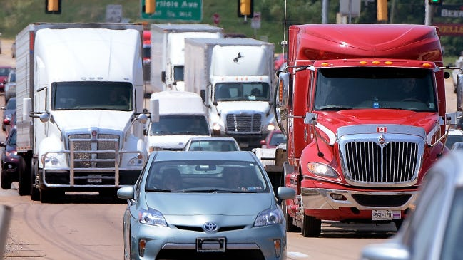 Traffic is heavy on Route 30 east of Roosevelt Avenue on Monday. York County residents will be able to comment on York's transportation needs or the process for choosing projects during a meeting on Monday.