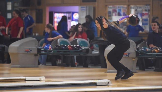 John Jay's Victoria Pacacha bowls at Fishkill Bowl on Thursday.
