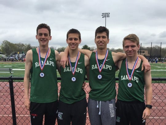 Ben Landel, far left, with the Ramapo school-record distance medley relay team