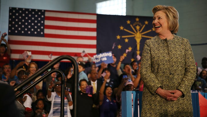 Hillary Clinton speaks during a campaign stop at the