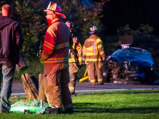 Emergency crews responded to a one-vehicle crash that damaged a utility pole and underground gas line at the intersection of Quentin Road and Zinns Mill Road in Cornwall Brough on Tuesday, Oct. 11, 2016.