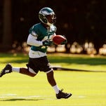 Philadelphia Eagles running back Darren Sproles runs a drill during practice on Tuesday at the team's training facility in Philadelphia.