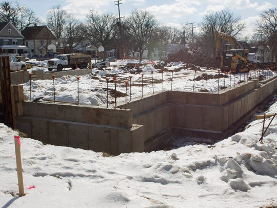 The concrete foundation is in place for a chapel at