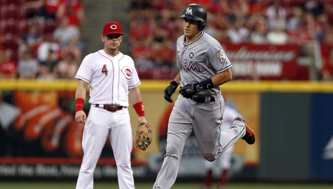 J.T. Realmuto hit two homers against Reds starter Robert Stephenson on July 22, 2017.