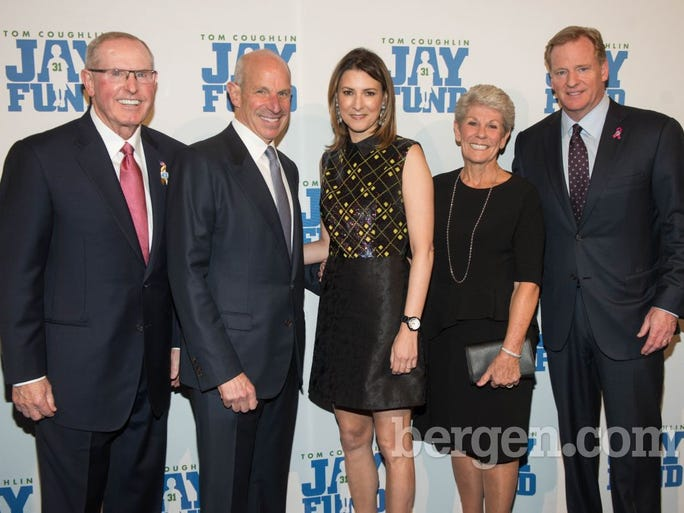 Tom Coughlin (Former New York Giants' Head Coach), Jonathan Tisch (co-chairman of the board of Loews Corporation/Co-Owner of New York Giants), Lizzie Tisch, Judy Coughlin and 