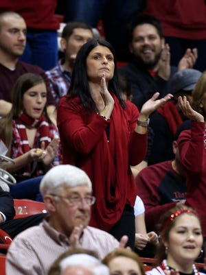 Joani Crean cheers during a game between Indiana and Penn State on Jan. 23, 2013, in Bloomington, Ind.