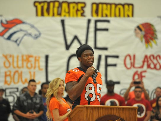 Virgil Green speaks during a rally at Tulare Union