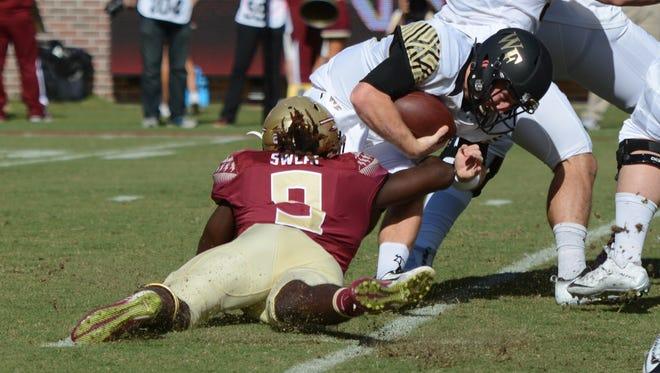 DE Josh Sweat had seven tackles and one-and-half sacks vs. Wake Forest. Florida State won 17-6.