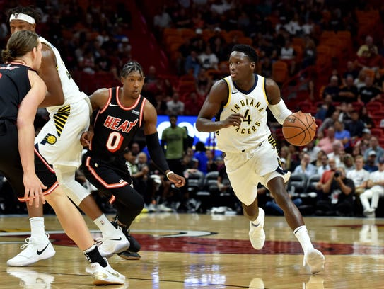 Indiana Pacers guard Victor Oladipo (4) dribbles the