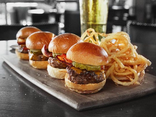 The bacon cheeseburger sliders from Bar Louie.