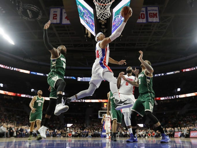 Detroit Pistons forward Tobias Harris makes a layup