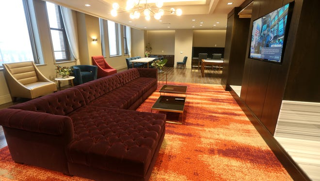 One of the residential lounge areas in Sibley Square on Main Street in downtown Rochester.
