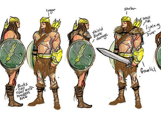 Character designs for Arkon, the central character
