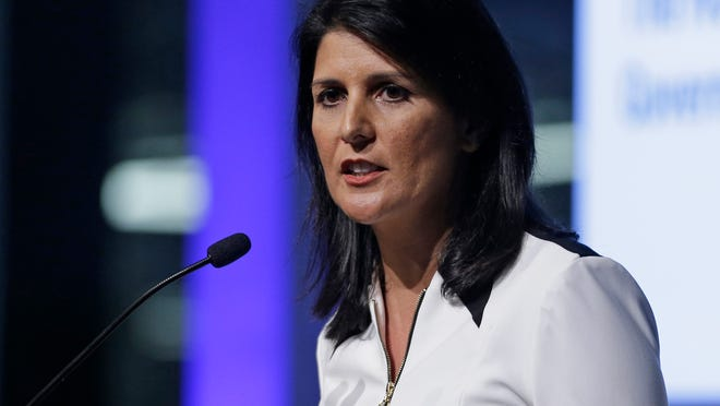 ADVANCE FOR SATURDAY, AUG. 30, AND THEREAFTER - FILE - This March 28, 2014, file photo shows South Carolina Gov. Nikki Haley as she speaks during a news conference at the BMW manufacturing plant in Greer, S.C. Becoming a governor can take years of paying political dues and a grueling nomination battle. Once itís gotten, keeping the power tends to be easier. Incumbents are tough to beat, particularly when the economy is on the upswing. Thatís the case this year when 36 states pick governors. (AP Photo/Chuck Burton, File) ORG XMIT: WX824