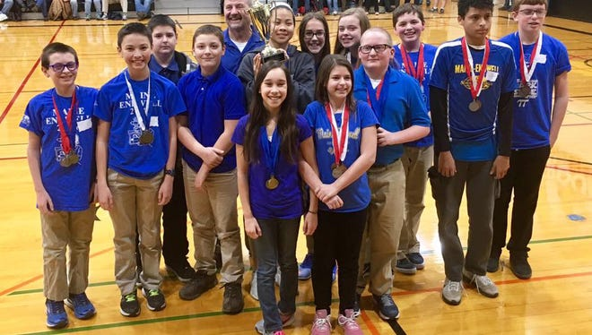 The Maine-Endwell Middle School Science Olympiad team placed first during the NYS regional competition.