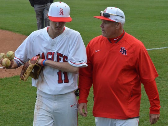 Brentwood Academy baseball coach Buddy Alexander (right)