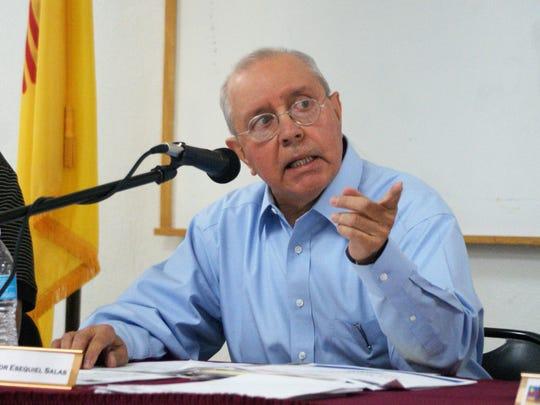 Columbus, N.M. Mayor Esequiel Salas is seen at a village trustees' meeting on May 16, 2018.