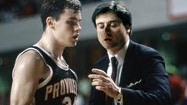 Providence guard Billy Donovan talks to head coach Rick Pitino during the 1987 NCAA men's basketball tournament at Freedom Hall.