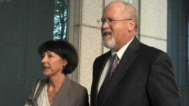 Fallen power broker Harvey Whittemore and his wife, Annette, arrive at federal court in Reno on May 14. Lawyers for Whittemore filed a 138-page petition asking the justices to reinstate his law license until a disciplinary board makes a decision on what to do about his three felony convictions.