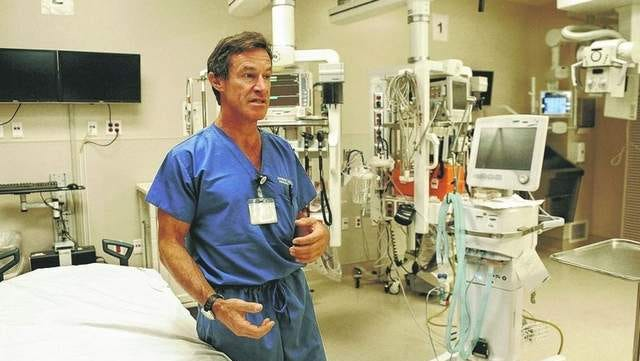 Dr. Jonathan Laine stands in the one of the Renown's emergency rooms where he cared for the victims of the Reno Air Races crash.
