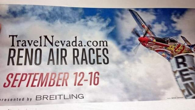 Publicity illustration showing a billboard for the Reno National Championship Air Races.