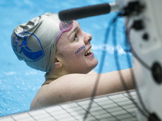 Sammie Burchill, after winning the 200 yard IM, IHSAA girls high school state championships, IUPUI Natatorium, Indianapolis, Saturday, Feb. 13, 2016. Carmel is attempting to win their national record 30th state title, in any sport.