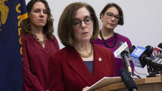 Oregon Governor Kate Brown at a press conference in March.