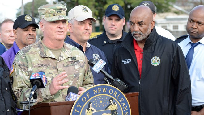 Maj. Gen. Glenn H. Curtis, adjutant general of the Louisiana National Guard, addresses the media on the support that LANG will provide to the city of New Orleans at the direction of Louisiana Gov. John Bel Edwards after a tornado hit New Orleans East on Feb. 7. The LANG mobilized 150 personnel to assist local, parish and state emergency officials after severe thunderstorms spawned several tornadoes in southeast Louisiana. (