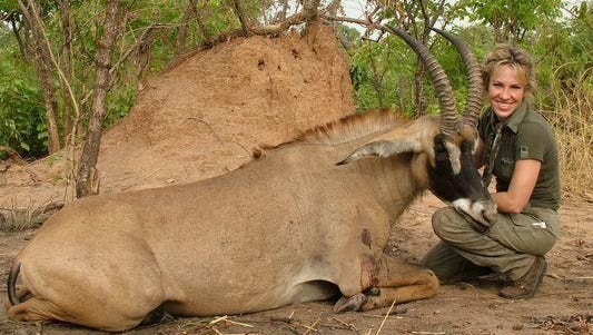 The author with a roan antelope she sot in the Republic of Benin in 2006.