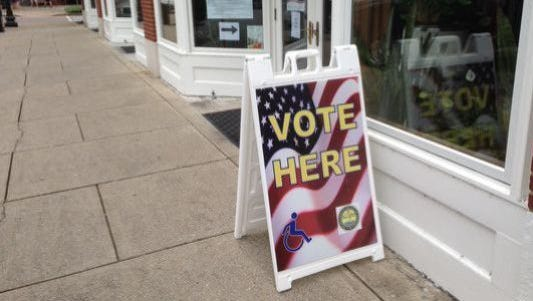 This sign appears by the Rutherford County Election Commission office on the south side of the Square in Murfreesboro. This polling place will operate from 7 a.m. to 7 p.m. through Friday during early voting and from 8 a.m. to noon Saturday.