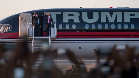 Donald Trump disembarking his campaign jet with New Jersey Governor Chris Christie for a rally at in Tennessee in February 2016. Now as president, his visits around the country result in Temporary Flight Restrictions, affecting not only jets like this one, but small model RC aircrafts.