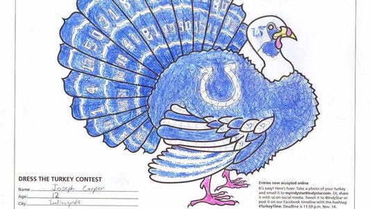 This turkey was entered in the 2013 contest by then-12-year-old Joseph Carper.