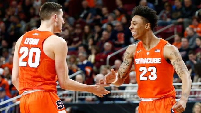 Freshmen Malachi Richardson (23) and Tyler Lydon (20) have been a key to the Orange's resurgence.