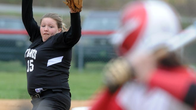 North Buncombe's Sam Harwood is a pitcher for the Madison 16U softball team.