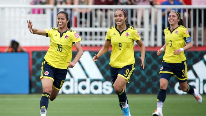 Colombia forward Lady Andrade (16) celebrates after scoring a goal during the first half against France in the 2015 FIFA Women's World Cup.