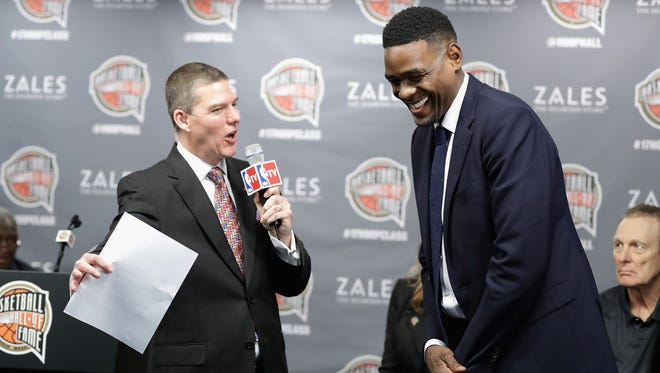 Naismith Memorial Basketball Hall of Fame finalist Chris Webber is interviewed during the Hall of Fame announcement at Smoothie King Center on Feb. 18 in New Orleans