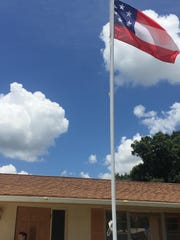 The flag in front of Tanya Kirkland's house