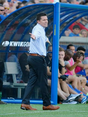 FC Cincinnati manager Alan Koch argues with the referee in the first half during the USL soccer game between Orlando City B and FC Cincinnati, Saturday, May 13, 2017.