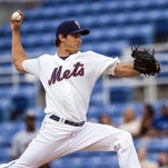 Binghamton Mets starting pitcher Seth Lugo throws a pitch against the Portland Sea Dogs at NYSEG Stadium on Tuesday, May 5, 2015.