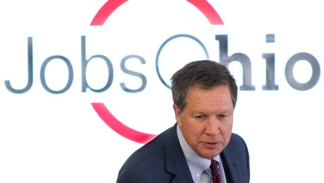 Gov. John Kasich before addressing the JobsOhio meeting at The National Underground Railroad Freedom Center in 2012.
