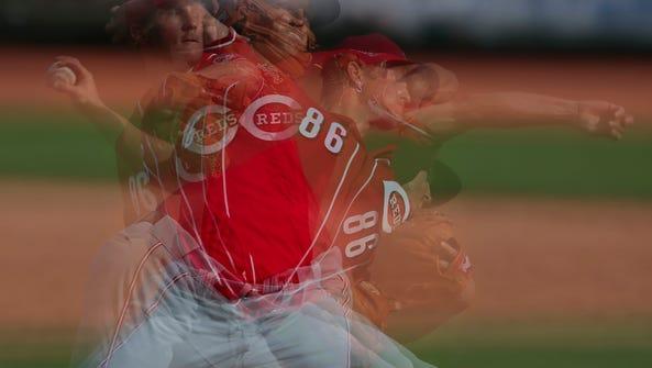 Cincinnati Reds pitcher Layne Somsen (86) delivers