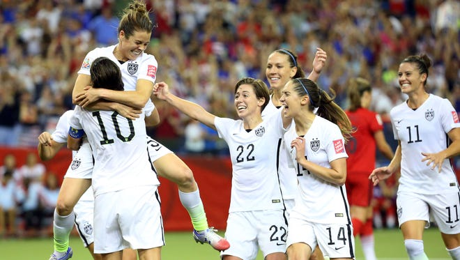 Jun 30, 2015; Montreal, Quebec, CAN; United States forward Kelley O'Hara (5) celebrates her goal during the second half against Germany in the semifinals of the FIFA 2015 Women's World Cup at Olympic Stadium. Mandatory Credit: Jean-Yves Ahern-USA TODAY Sports