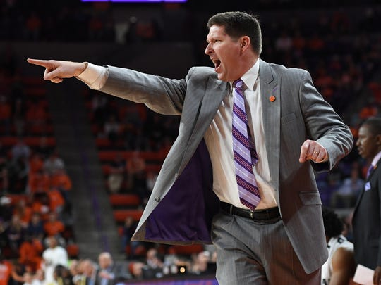 Clemson head coach Brad Brownell coaches against Georgia Tech during the 2nd half on Wednesday, February 1,  2017 at Clemson's Littlejohn Coliseum.
