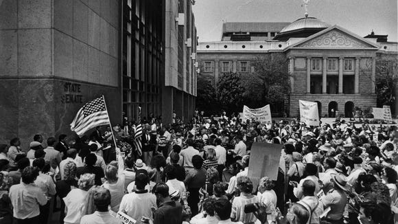 A 1989 rally at the State Capitol in favor of Martin Luther King Jr. holiday.
