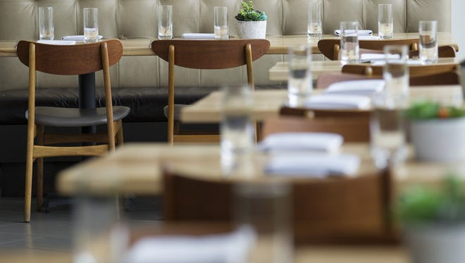 Contemporary decor at Cerulean, a fine-dining restaurant at the City Way development, Indianapolis.