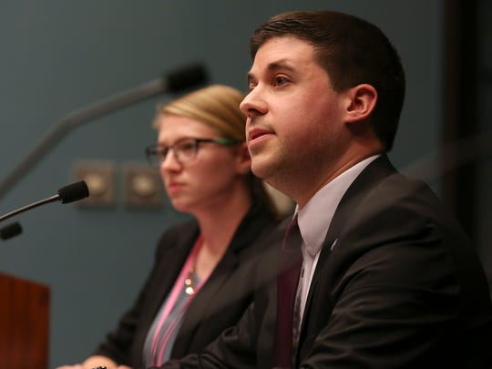 Kylie Taylor and David Karas of the city of Wilmington detail the support animal ordinance during a meeting of the Wilmington City Council Community Development & Urban Planning Committee meeting at the Louis L. Redding City/County Building.