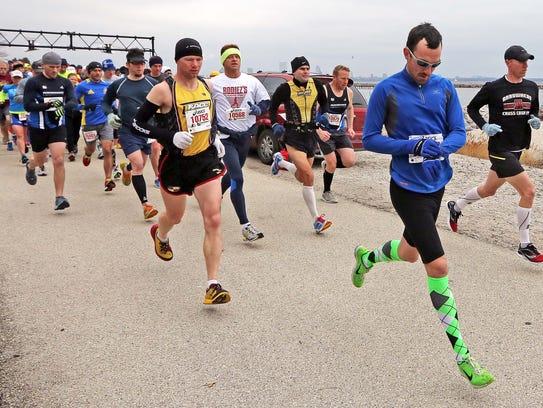 Runners get underway in the 2013 South Shore Half Marathon.