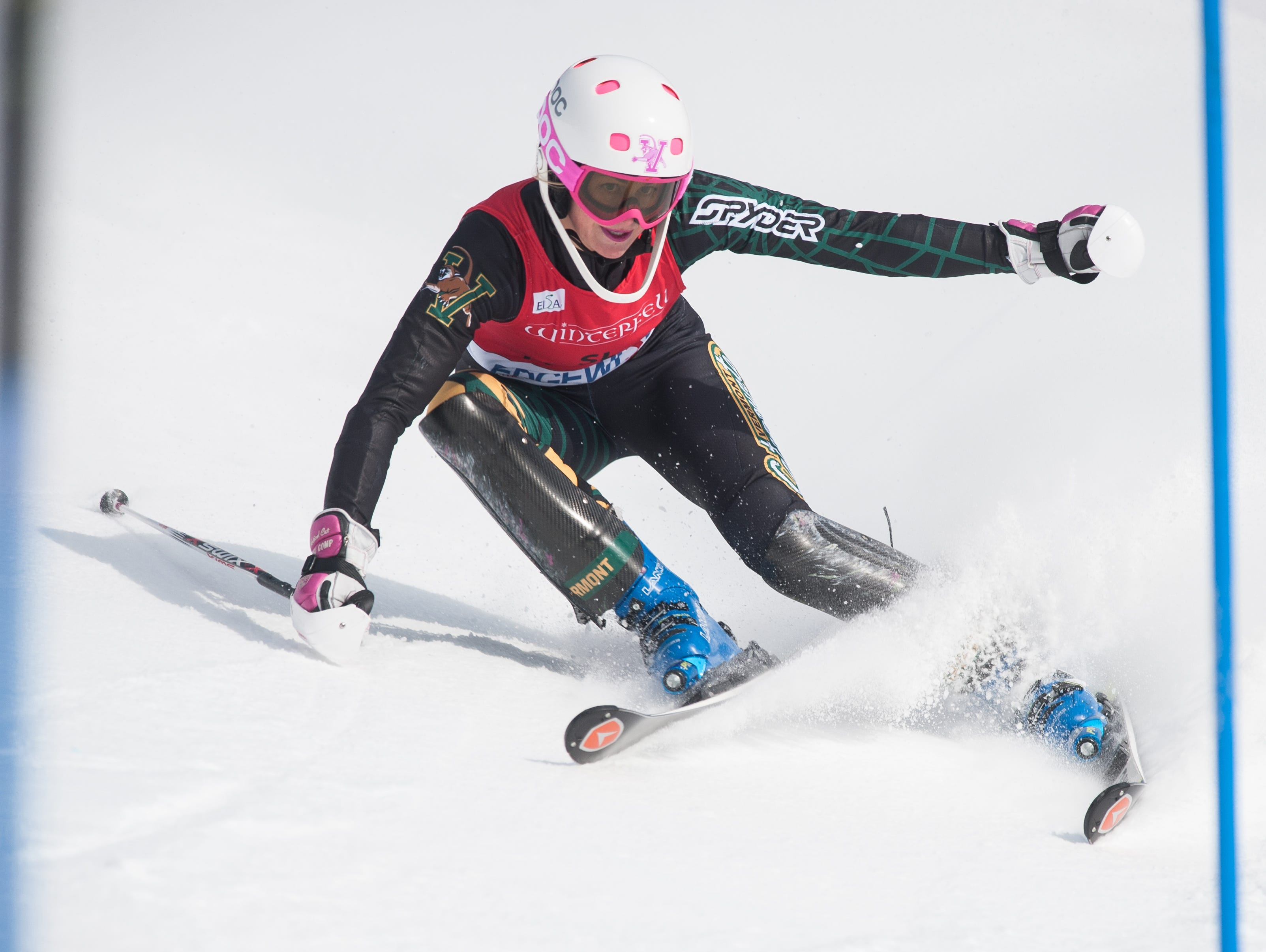 Vermont's Kristina Riis-Johannessen competes in the slalom race during the University of Vermont ski carnival at Stowe Mountain Resort on Jan. 24.