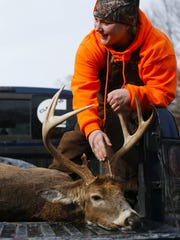 Using a bow, Jade Wright, 15, shot the largest deer