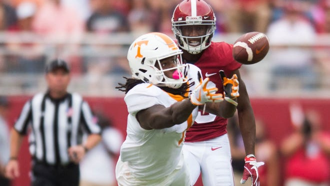 Tennessee wide receiver Marquez Callaway (1) attempts a catch during the Tennessee vs. Alabama game at Bryant-Denny Stadium in Tuscaloosa, Alabama Saturday, Oct. 21, 2017.